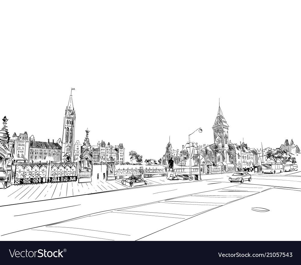 Ottawa canada hand drawn unusual street sketch