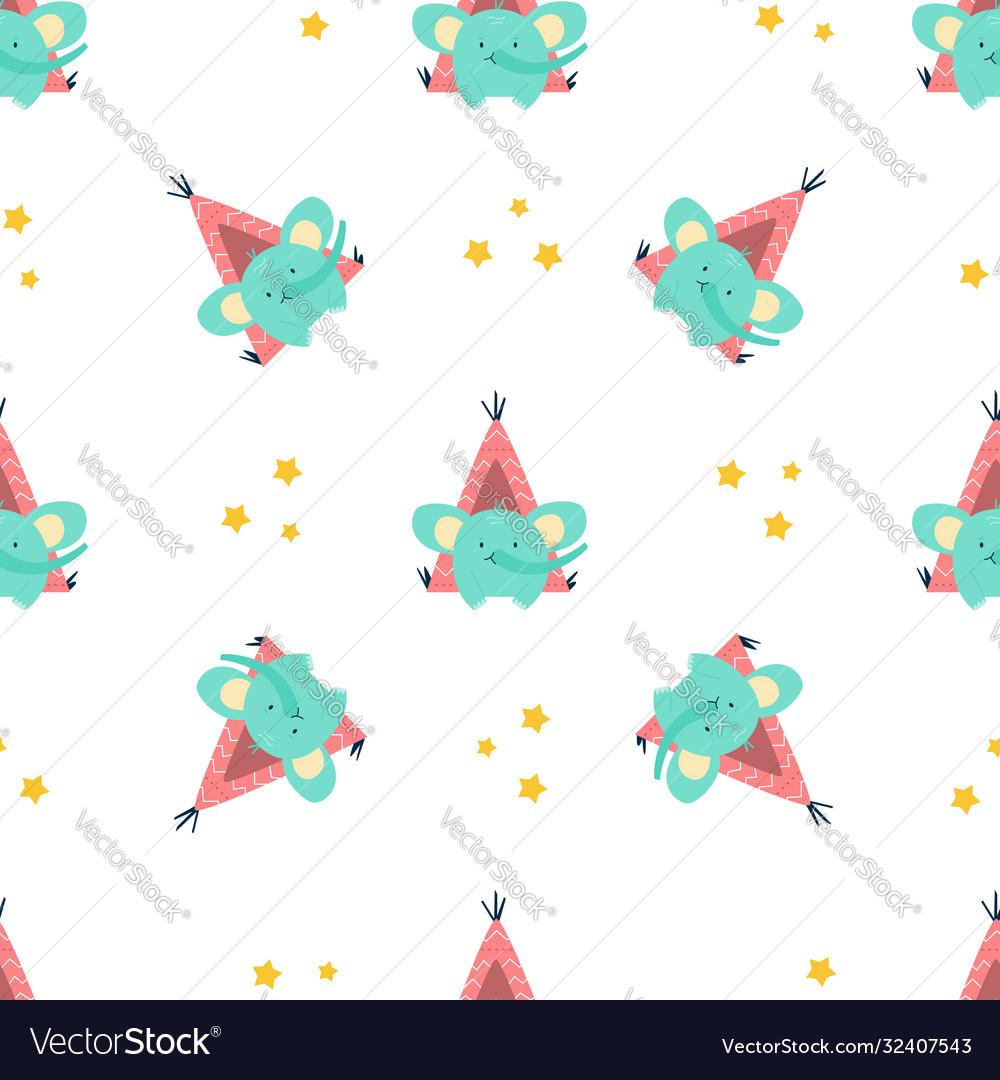 Seamless pattern with cute little elephants