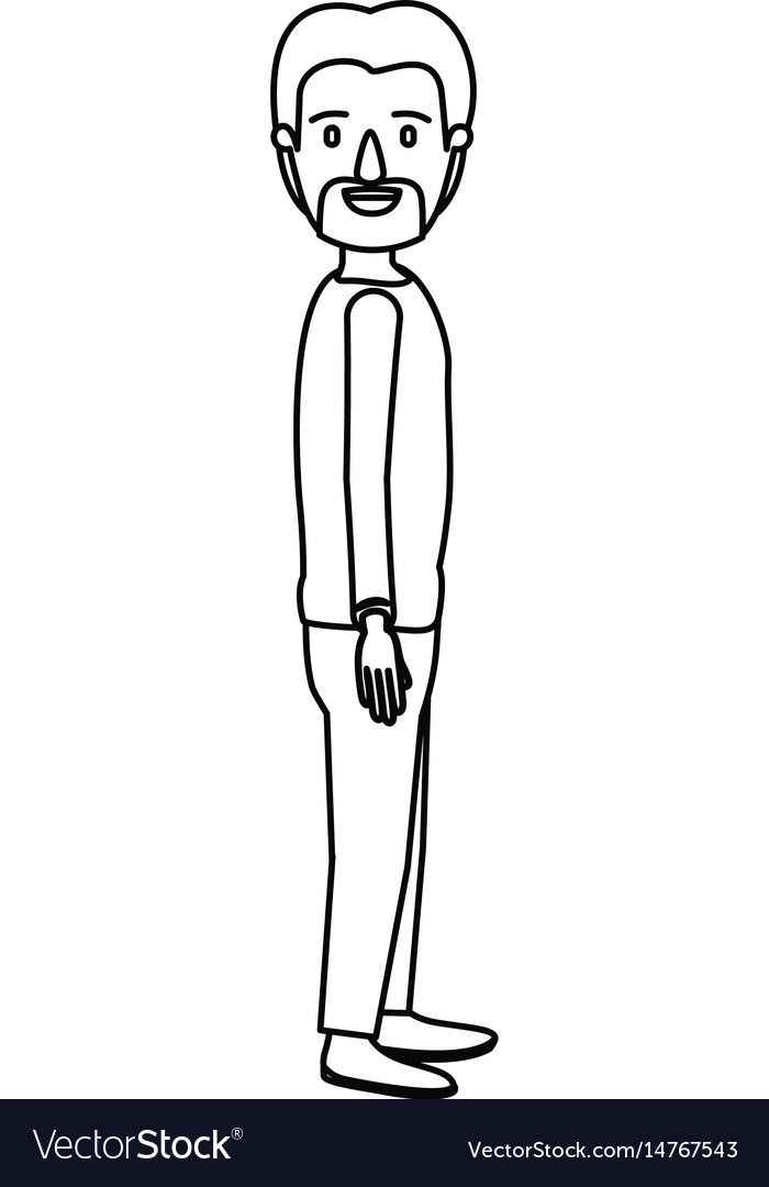 Silhouette cartoon full body male person with