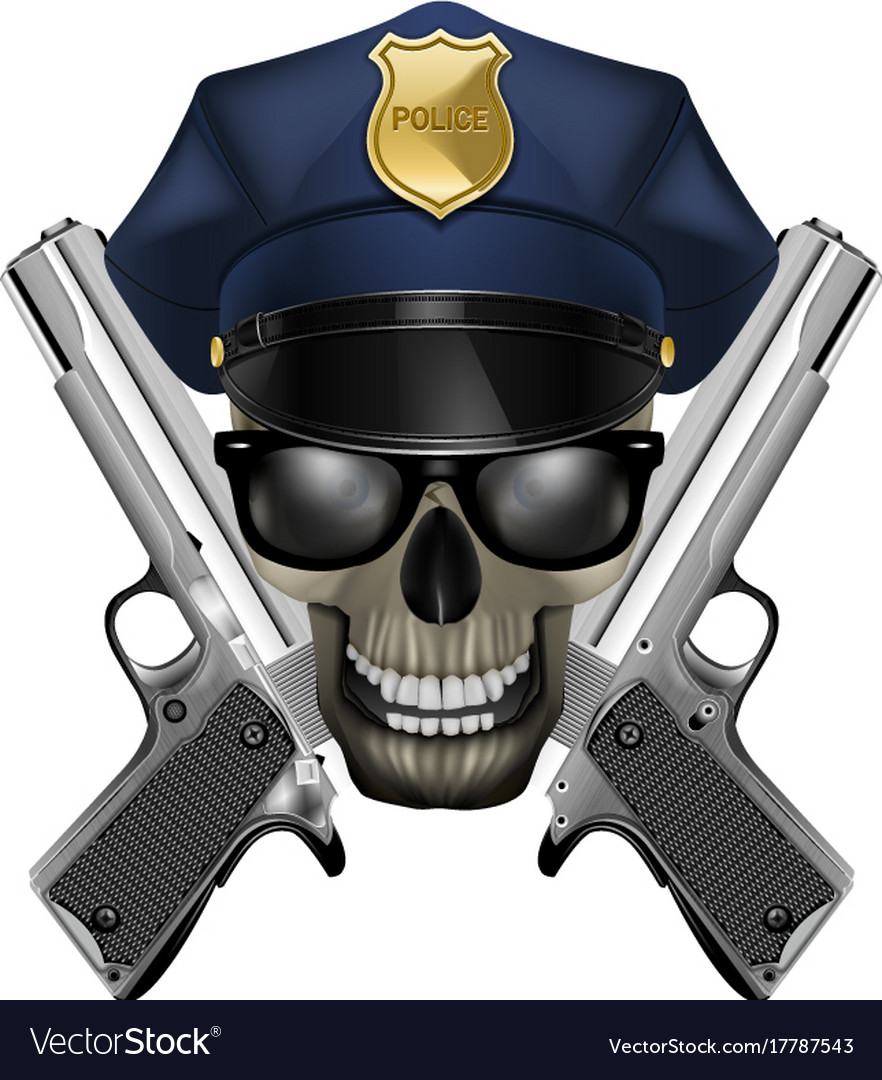 Skull with sunglasses in a police cap and silver