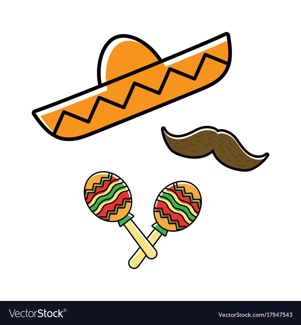 Sombrero maracas and mustache