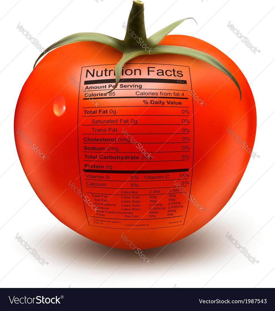 Tomato Nutrition Label