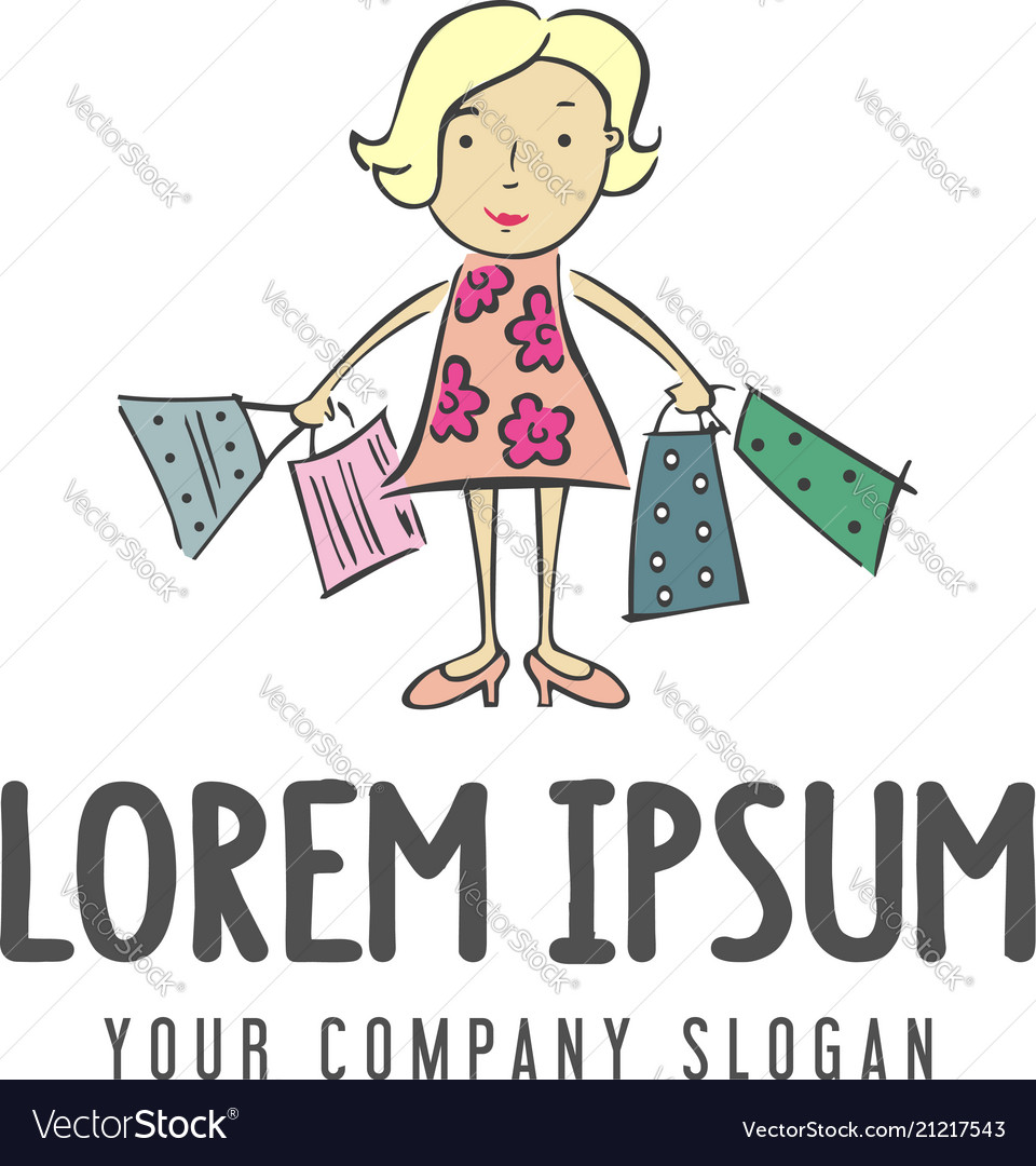 Woman shopping bag logo design concept template