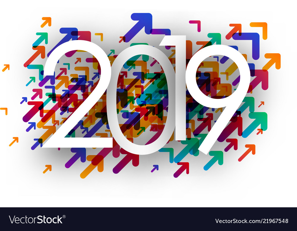 2019 new year background with colorful arrows