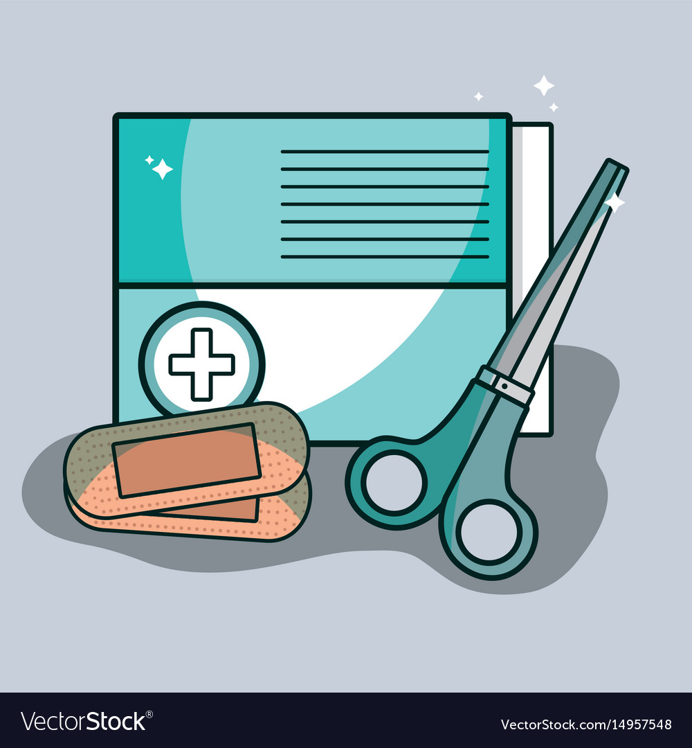 Aid band box with scissor pharmacy tools vector image