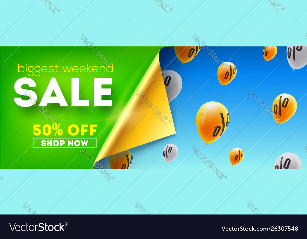 Biggest weekend sale creative banner with curved