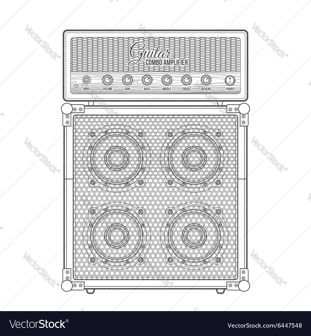Contour graphic electric guitar combo amplifier vector image