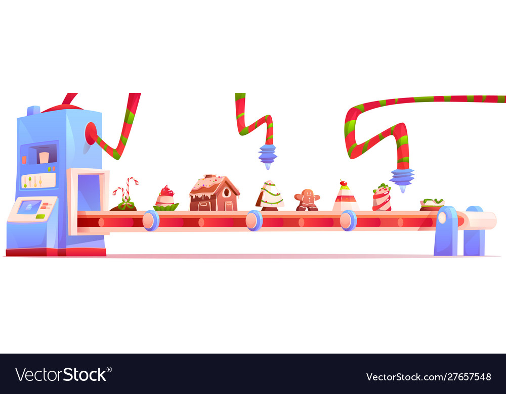 Conveyor with christmas candy and sweets factory