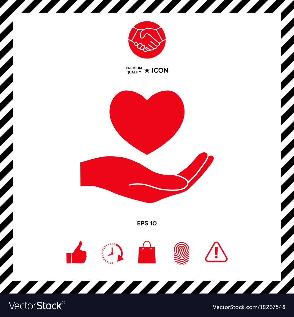 Hand Holding Heart Symbol Royalty Free Vector Image