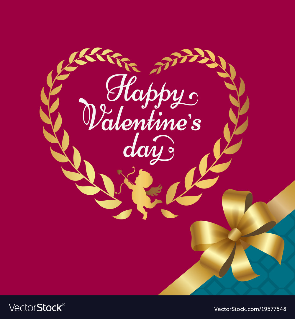 Happy Valentines Day Poster With Heart Royalty Free Vector