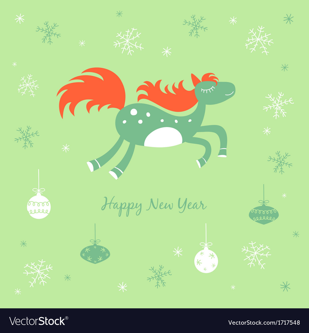 New Year and Christmas card with a horse