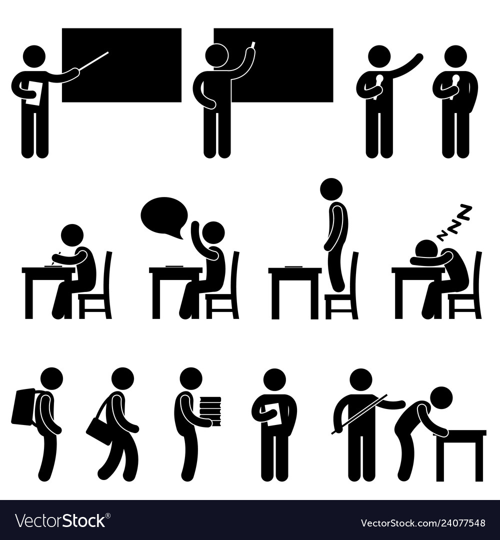 School teacher student class classroom symbol a