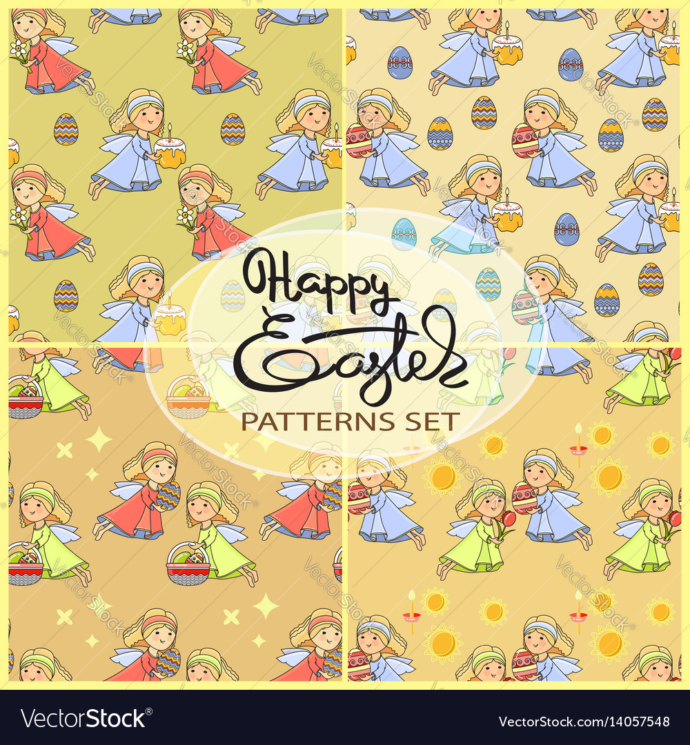 Seamless patterns set with easter icons vector image
