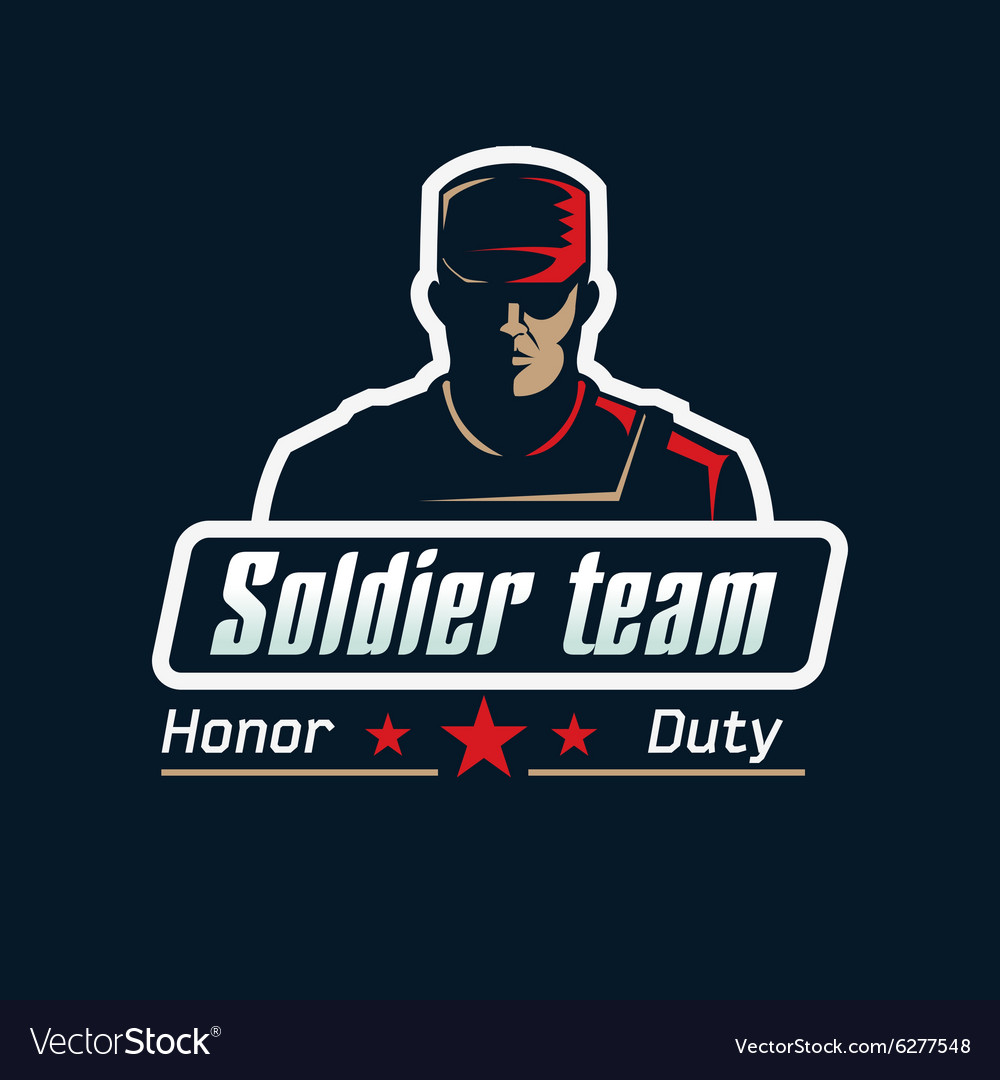soldier team logo template serious man in vector image