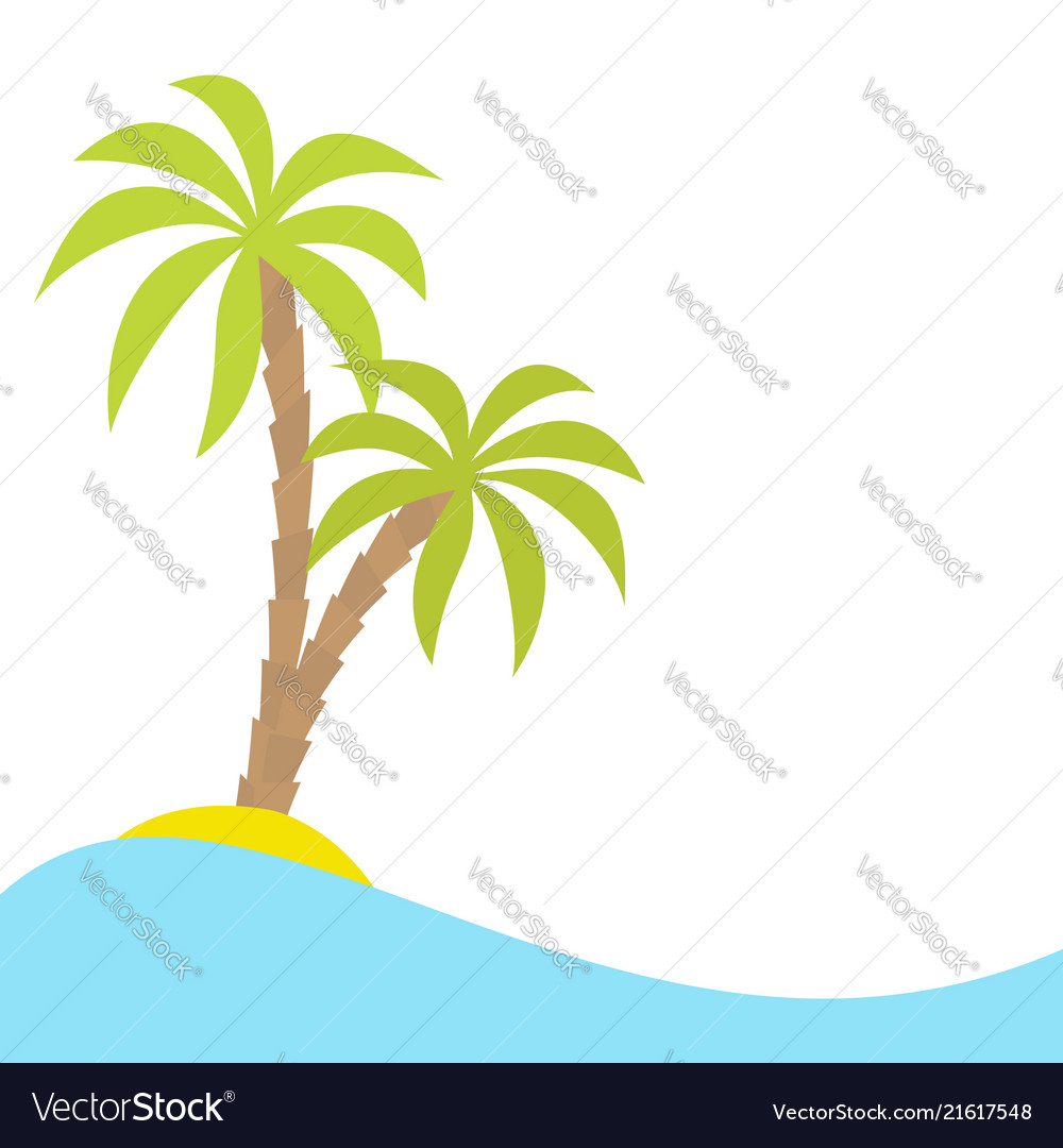 Two palms tree on island ocean see water wave