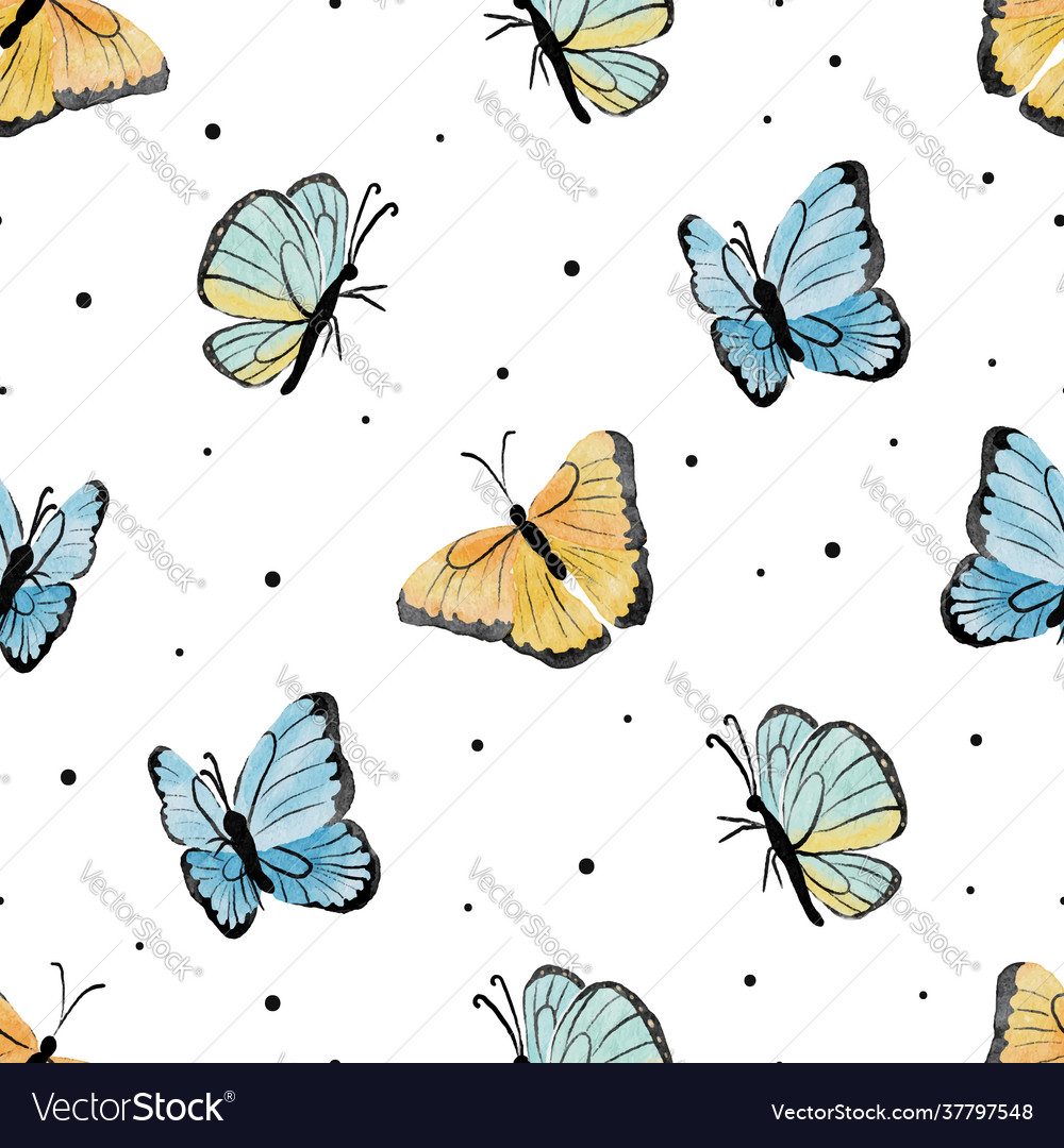 Watercolor yellow and blue butterfly seamless