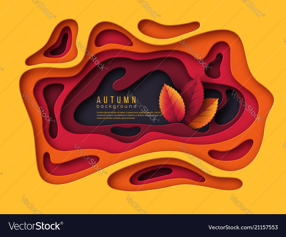 Autumn 3d paper cut background abstract shapes