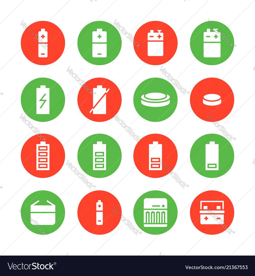 Battery flat glyph icons batteries varieties