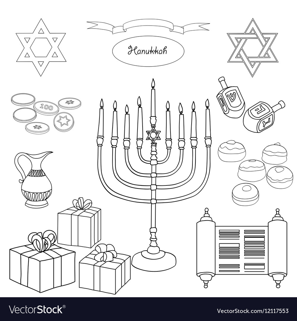 Black and white set of Hanukkah objects