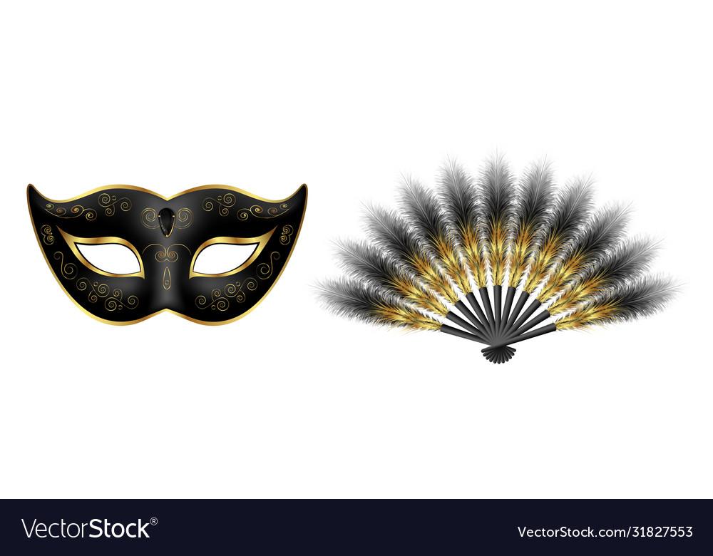 Black carnival venetian mask masquerade feather