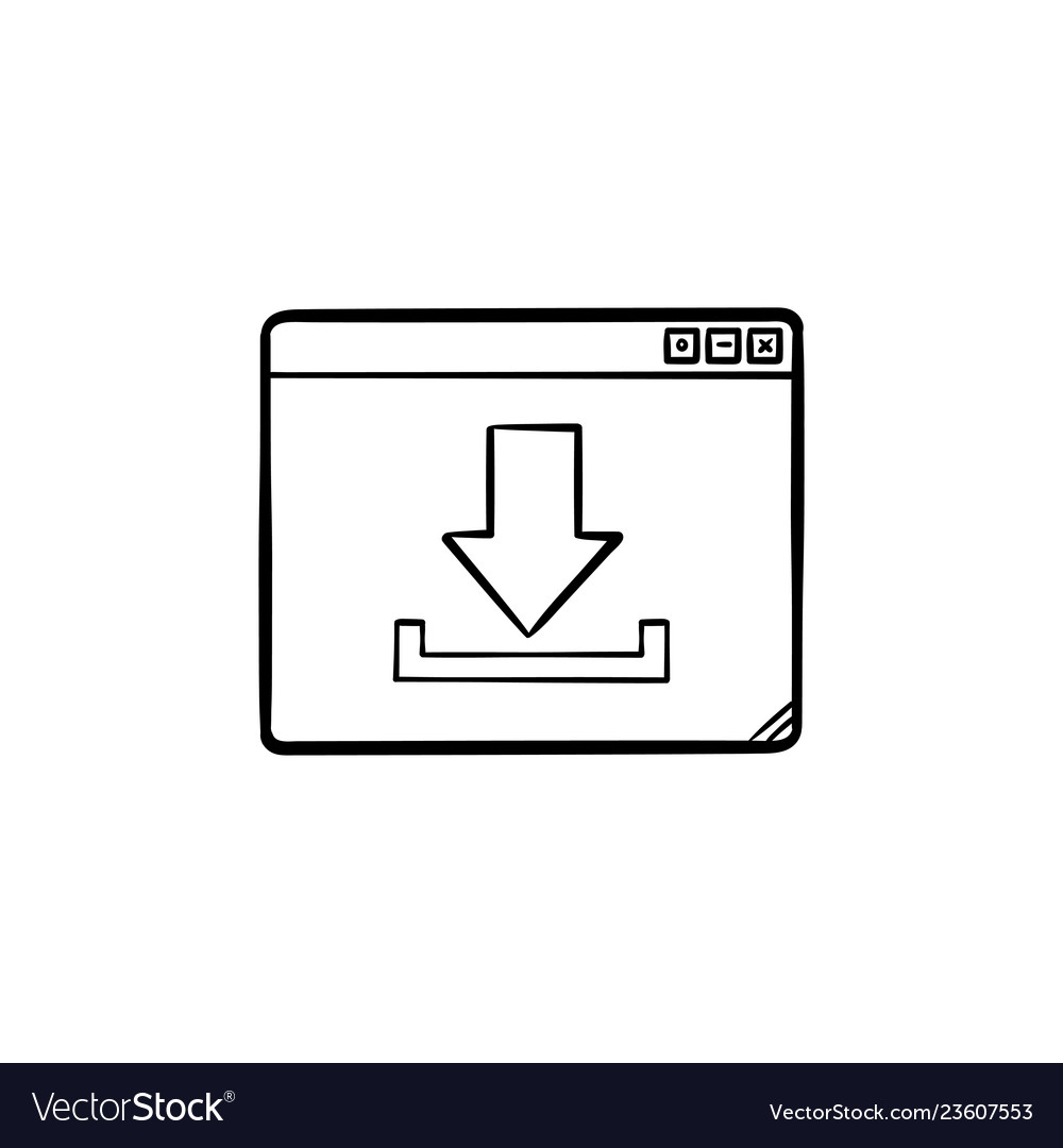 Browser window with download sign hand drawn