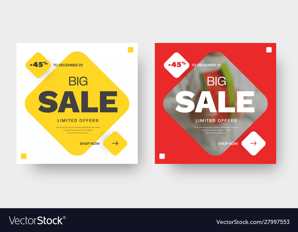 Design square banner for big sale with red and