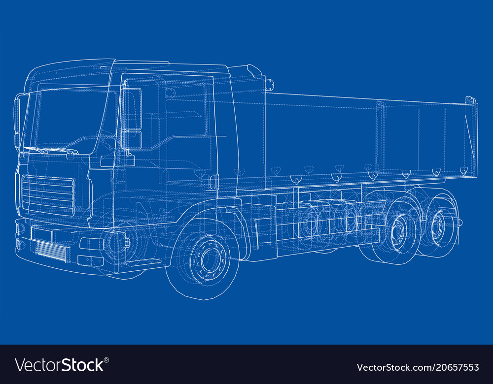 European truck outlined vector image