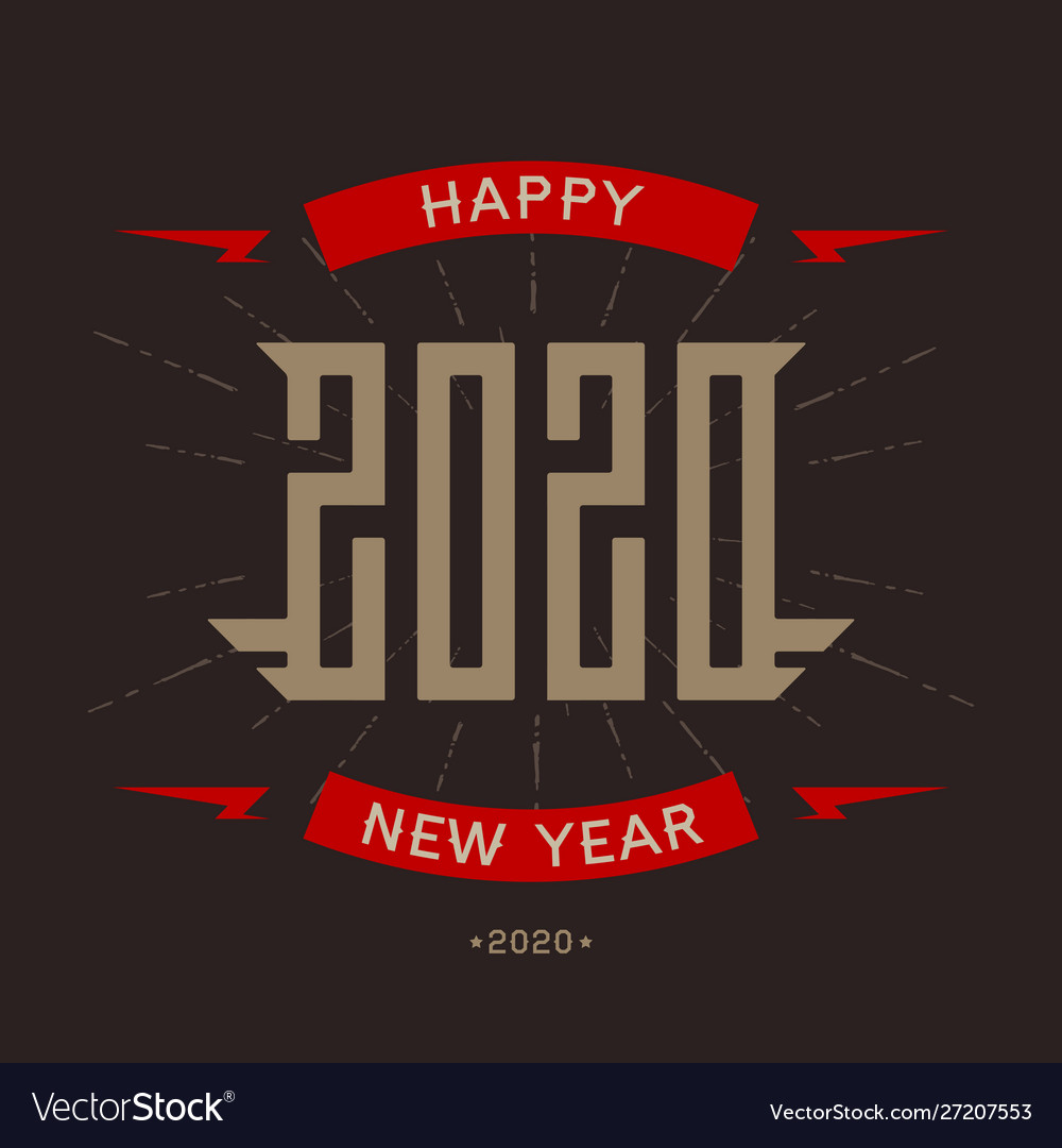 Happy new year 2020 - poster with stylized