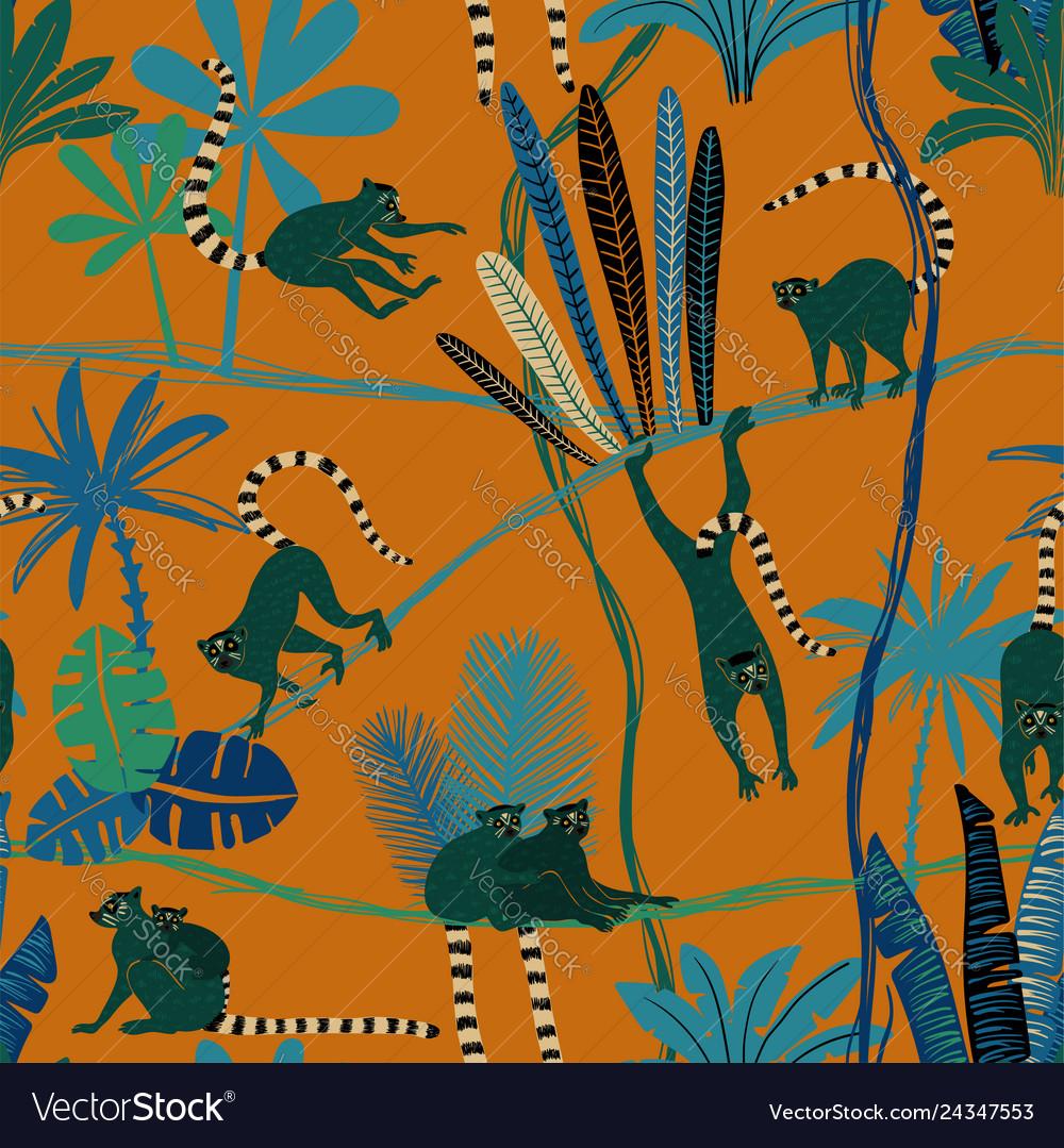 Lemur in jungle seamless pattern