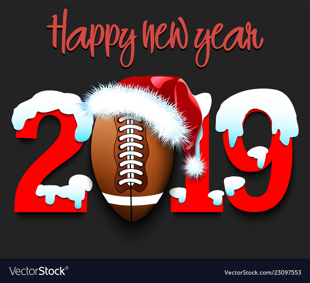 New Year Numbers 2019 And Football Ball Royalty Free Vector
