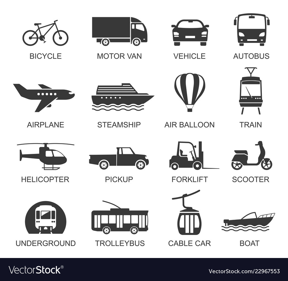 Transport line art icon set with names