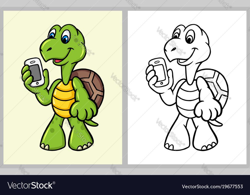 Turtle bring handphone cartoon character