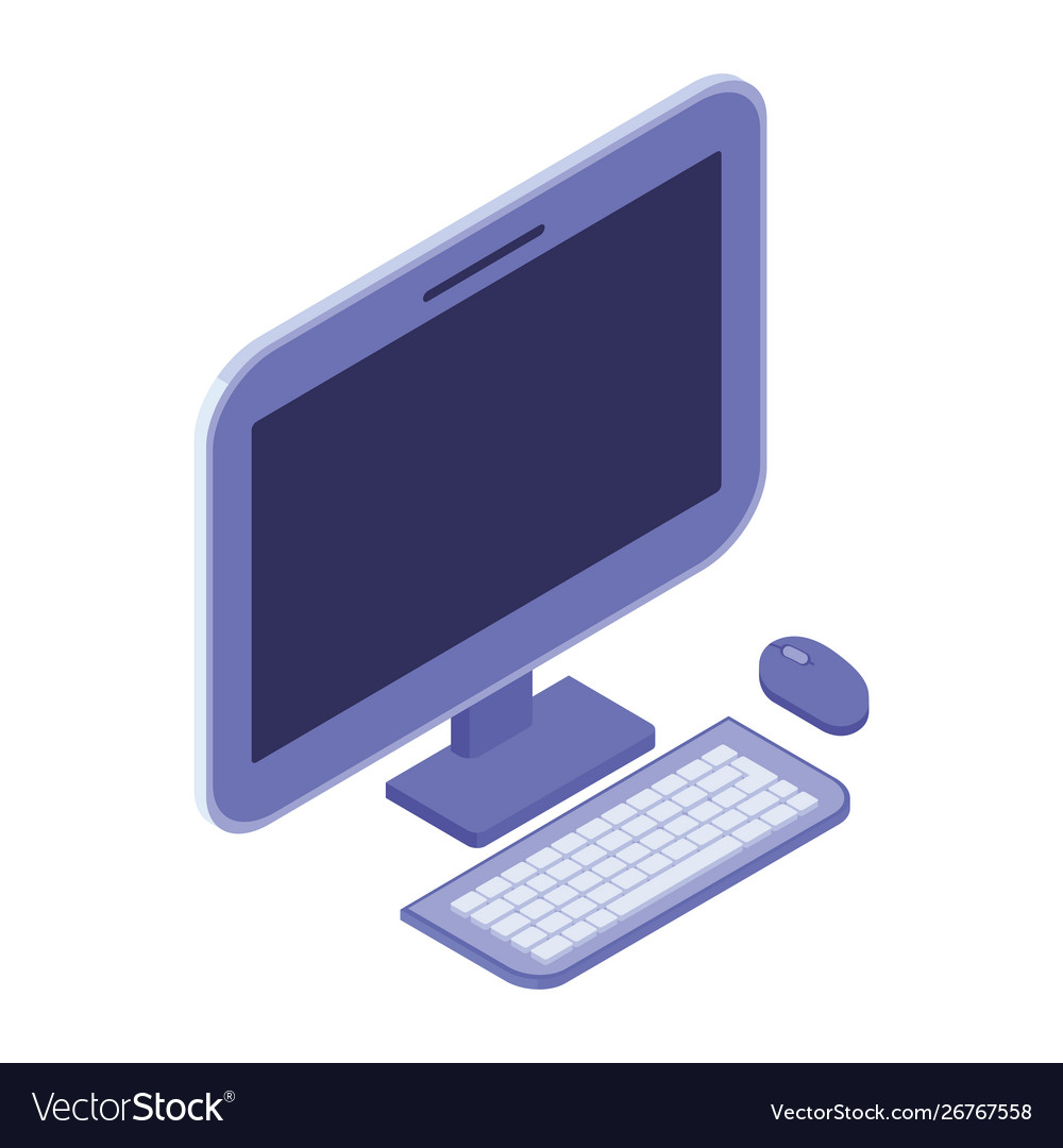 10d desktop computer screen with keyboard and mouse
