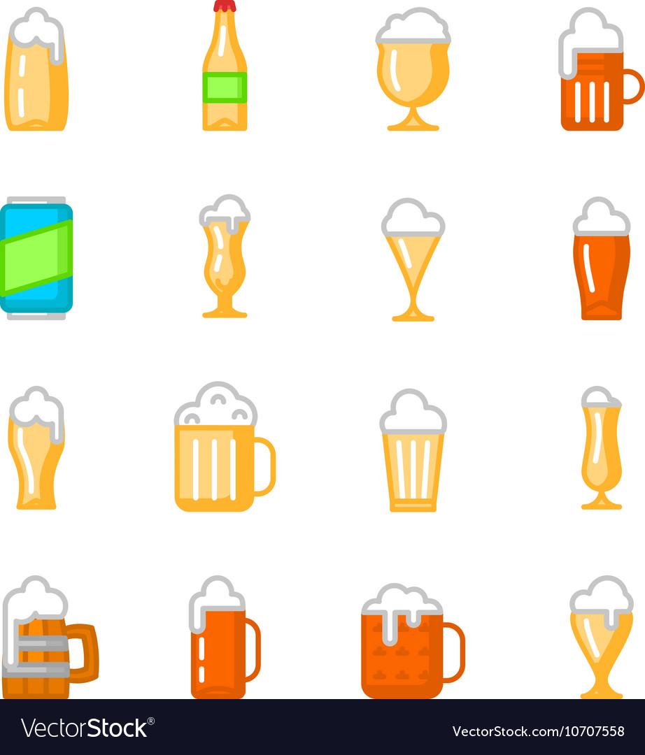 Beer glassware flat icons vector image