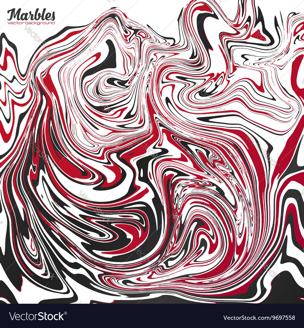 Black red and white marble abstract vector image
