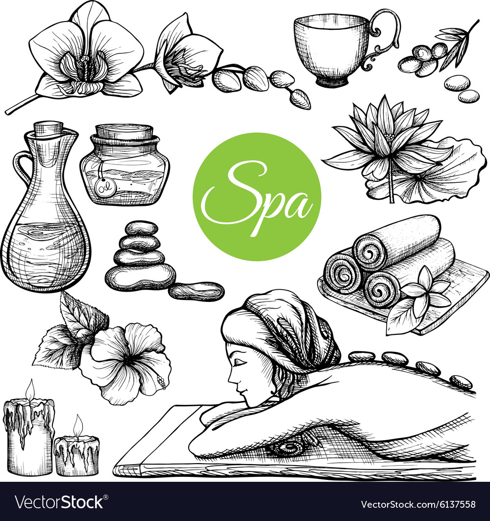Hand Drawn Spa Treatment Set vector image
