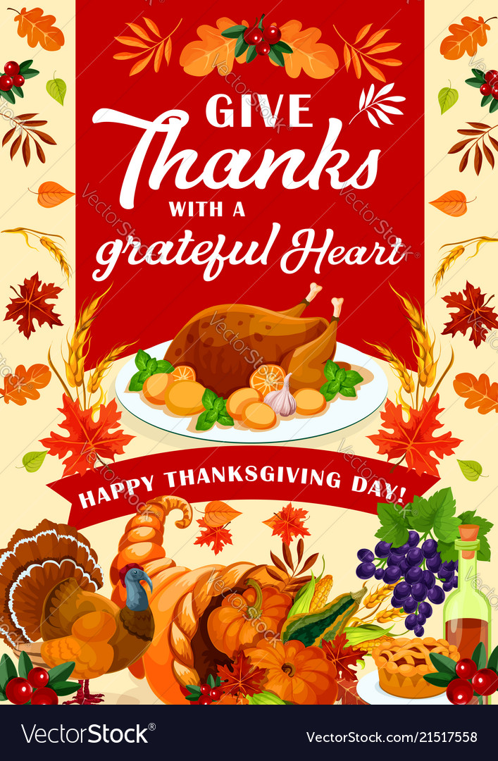Happy thanksgiving day holiday greeting card vector image m4hsunfo
