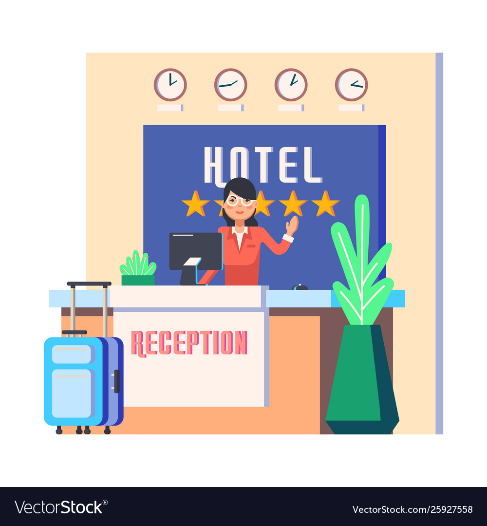 Hotel reception with woman and luggage bag
