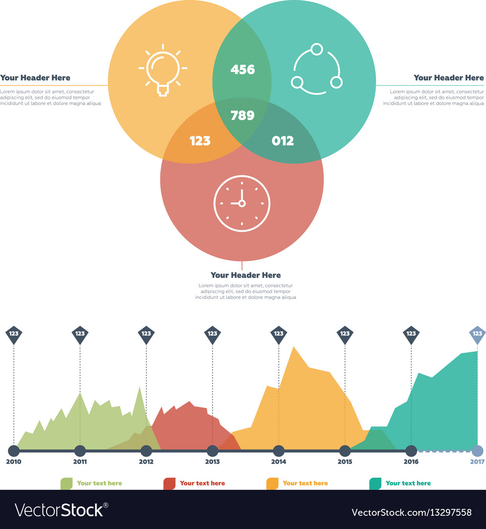 Infographics elements line chart and circles