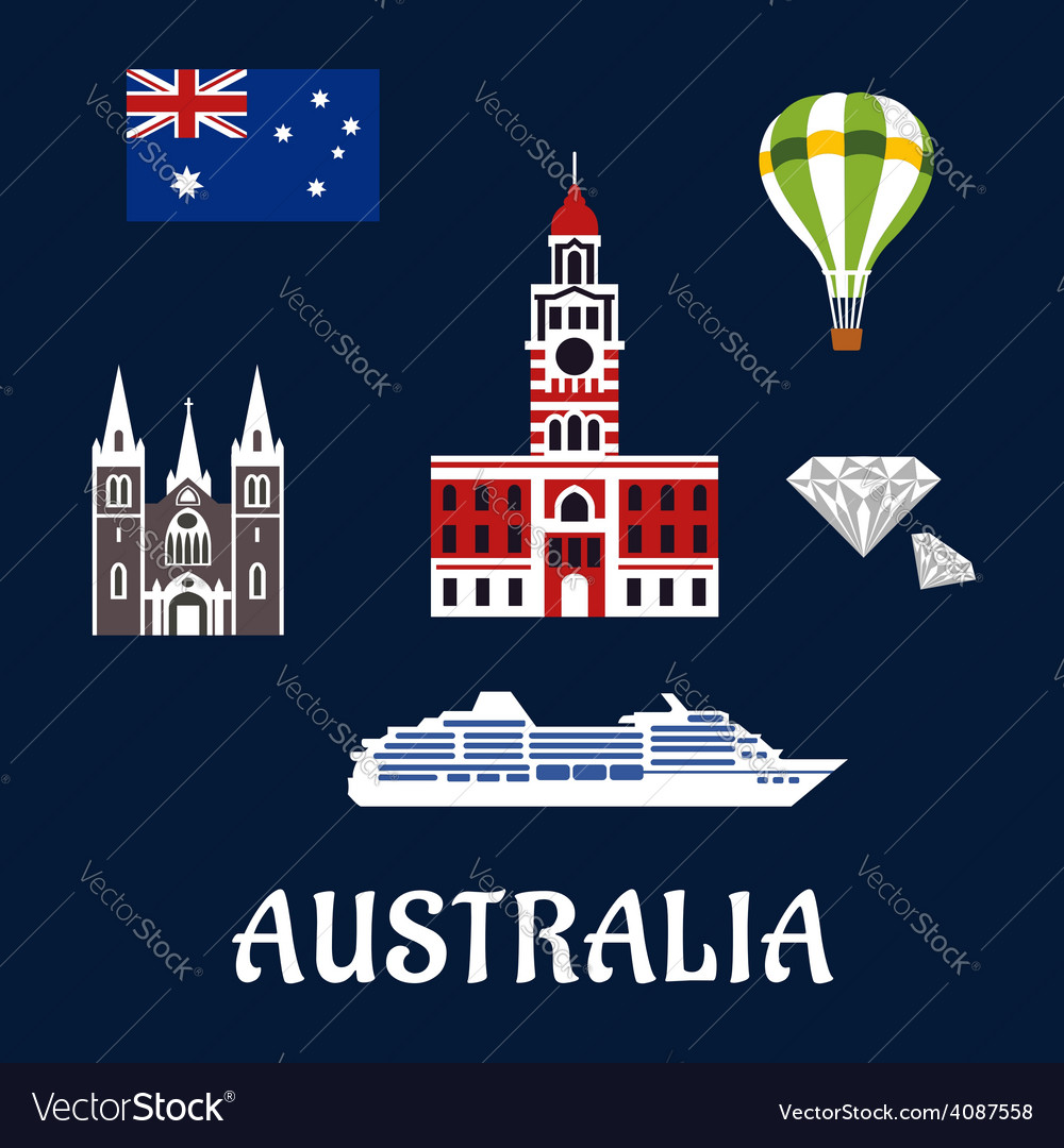 National Australian symbols and icons vector image