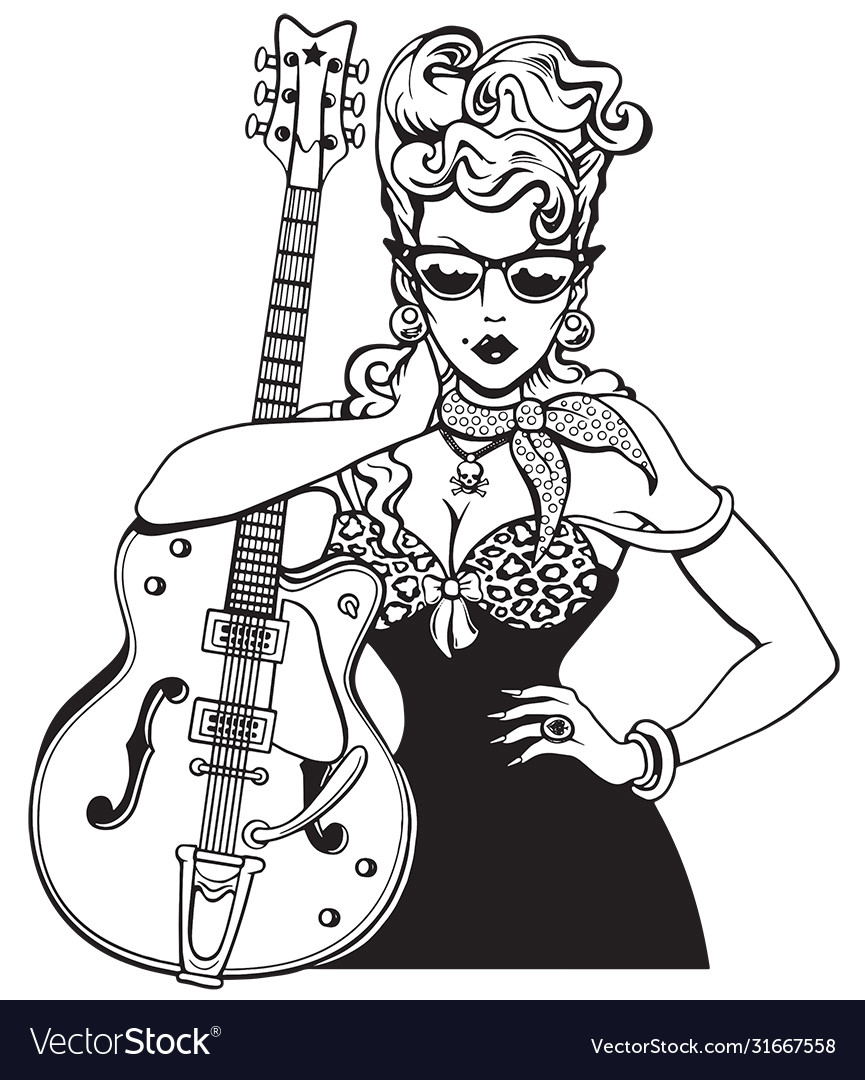 Rockabilly girl with vintage guitar