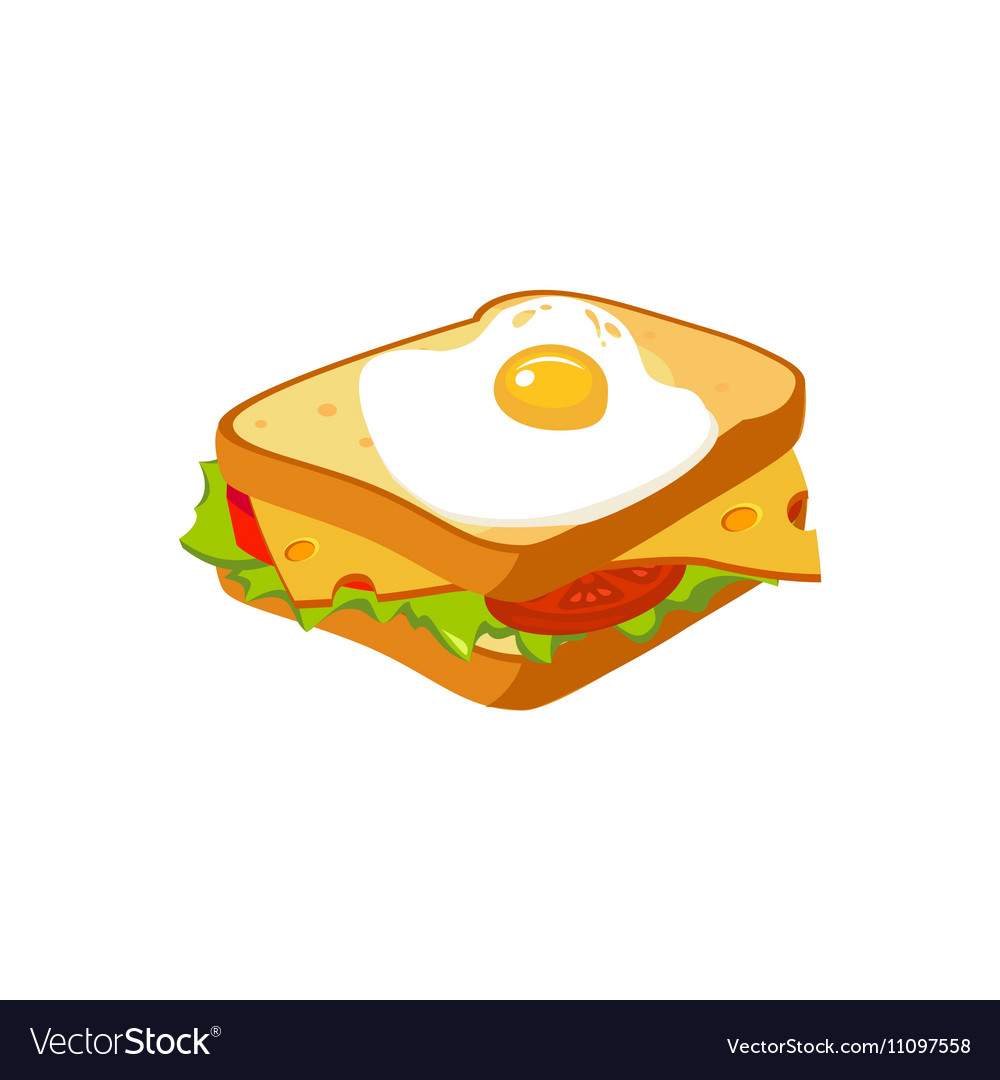 Sandwich Breakfast Food Element Isolated Icon vector image