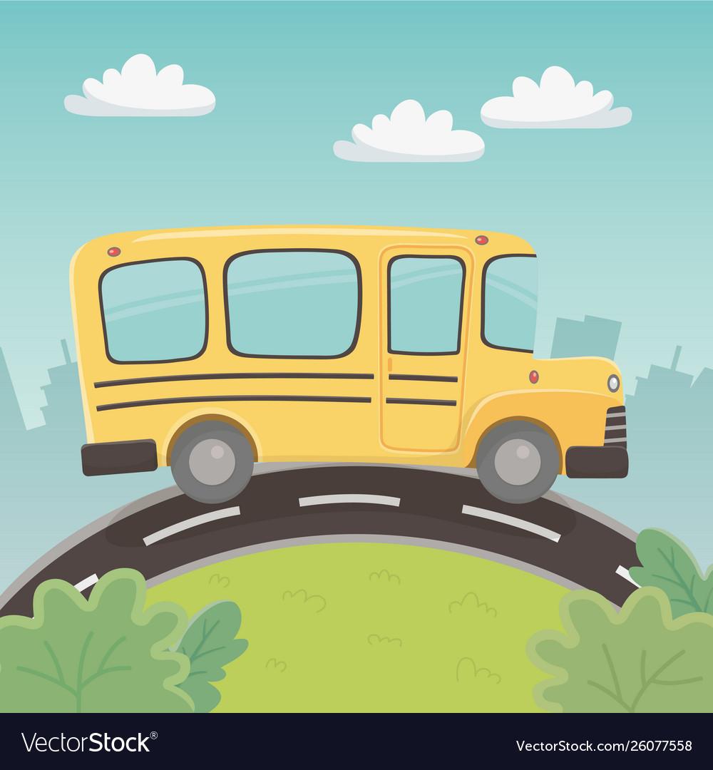 School bus transport in landscape