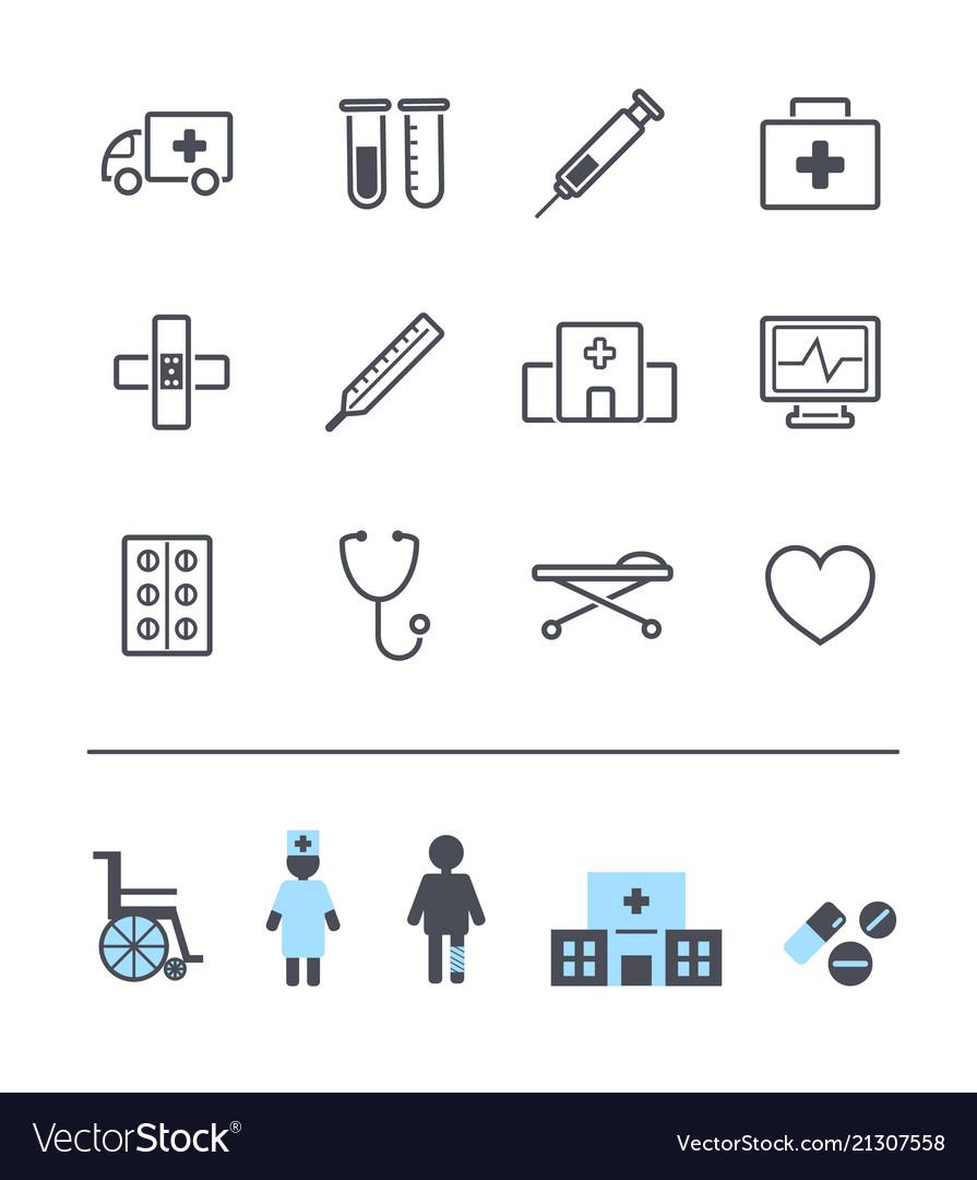 Set of line modern medicine icons hospital