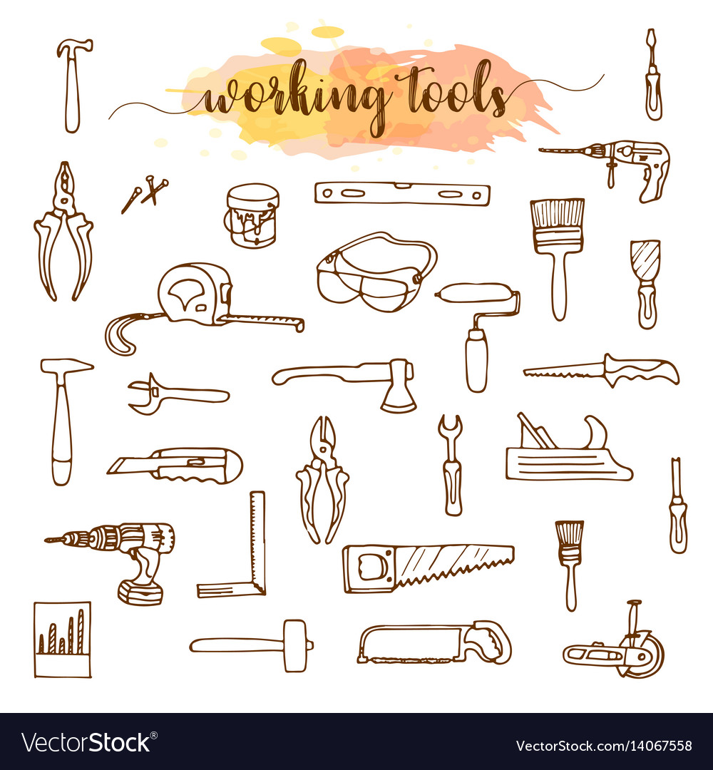 Set of working tools doodle sketch