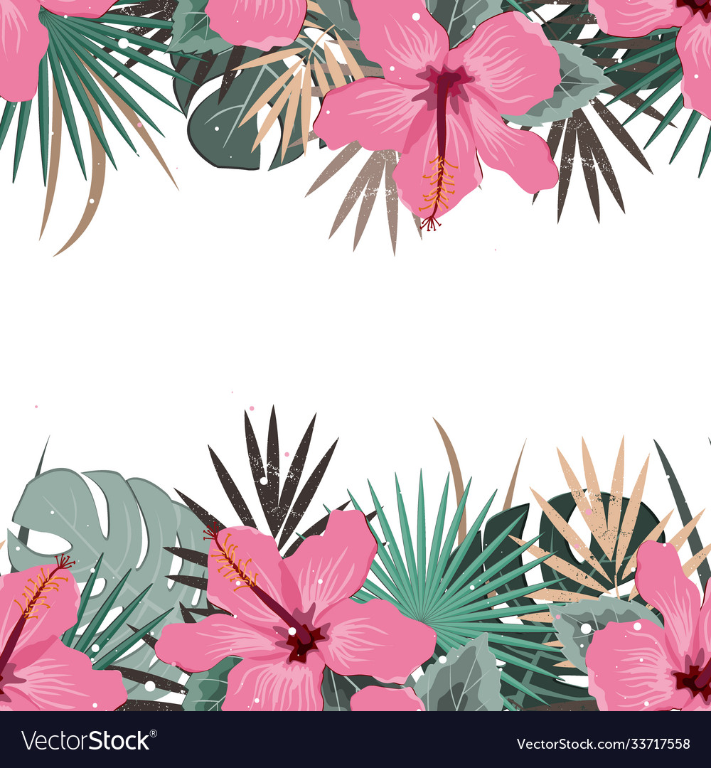 Summer border with tropical palm leaves and