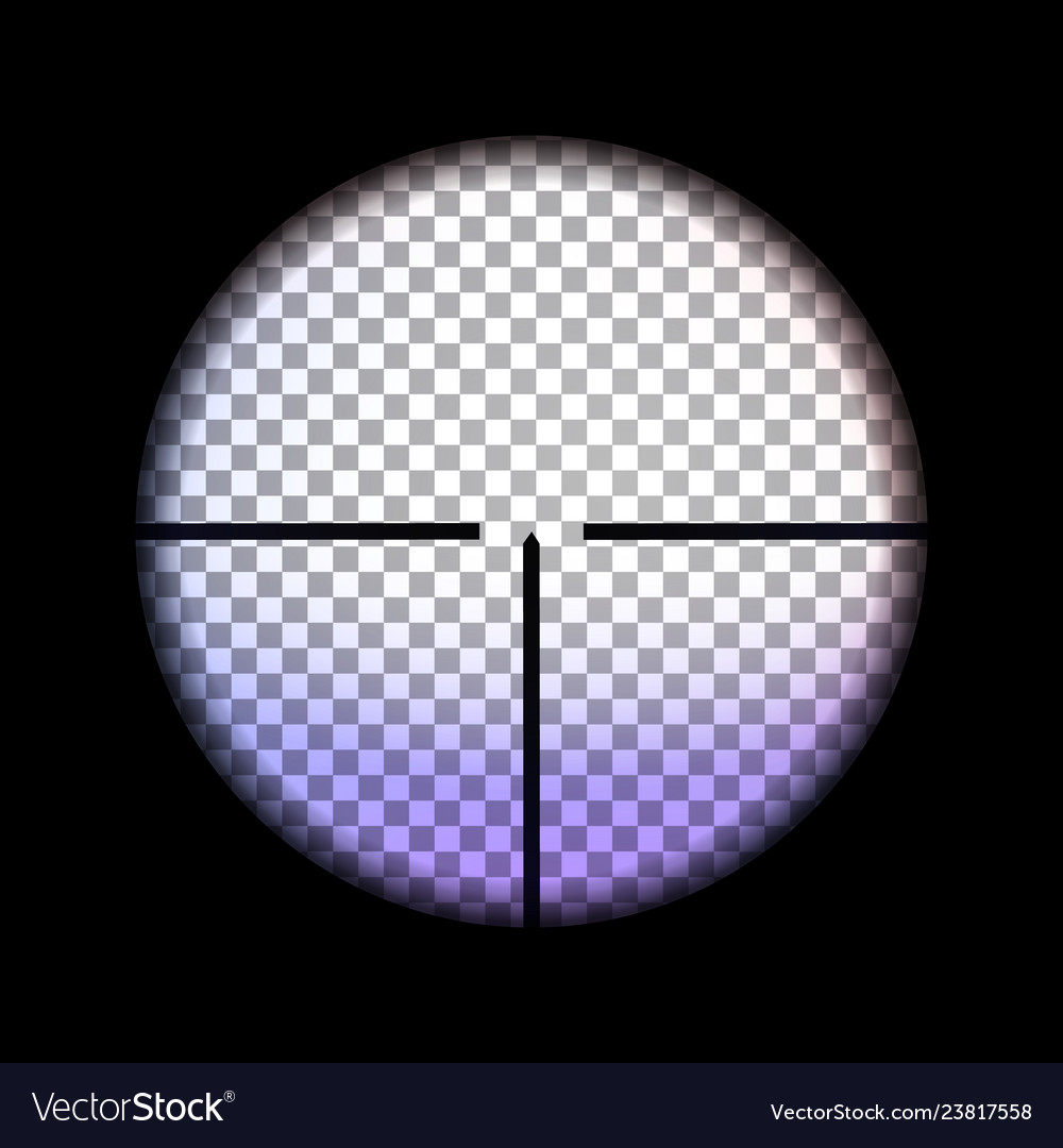 View through sniper scope with effect light
