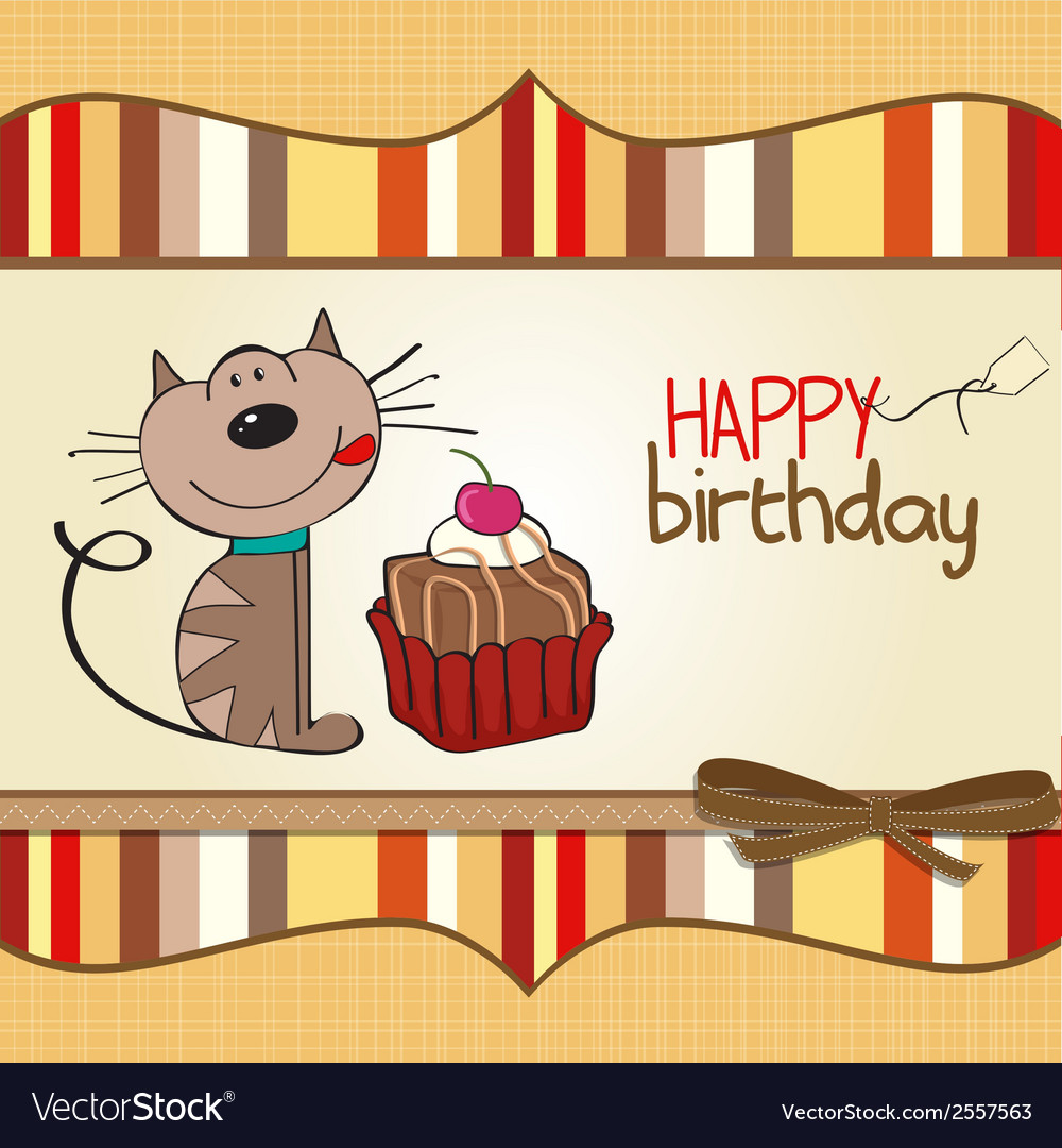 Birthday greeting card with a cat waiting to eat a birthday greeting card with a cat waiting to eat a vector image m4hsunfo