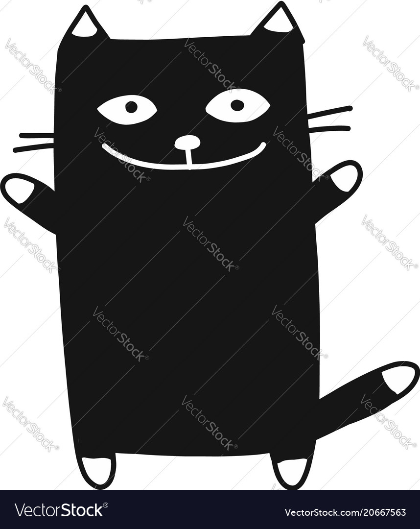 Cute cat silhouette sketch for your design