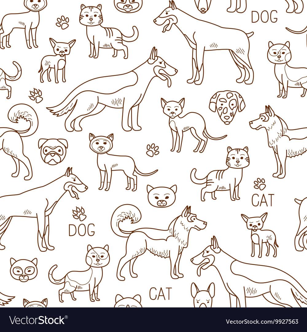 Doodle pets pattern vector image
